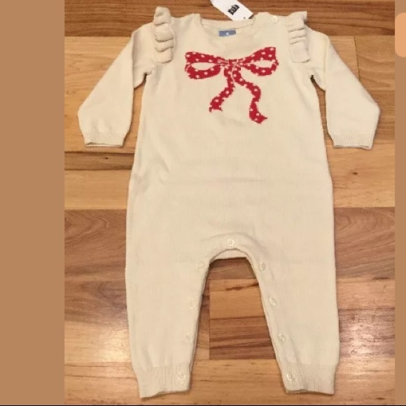 GAP Other - Baby Gap 3-6 M Girls Red Bow Ivory Sweater Romper